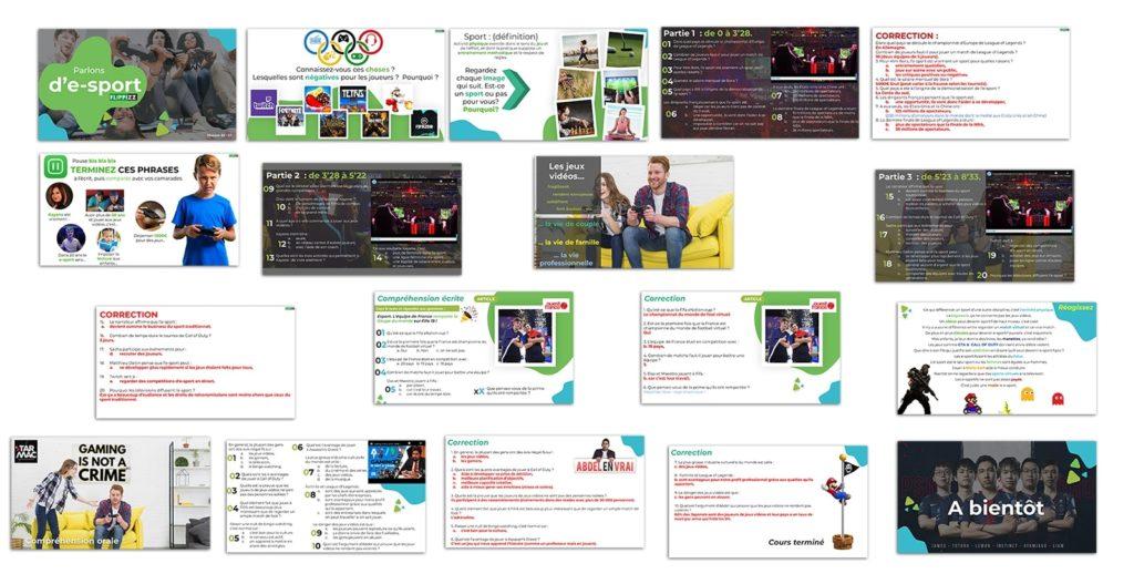 Fiche pédagogique powerpoint FLE parlons e-sport flippizz